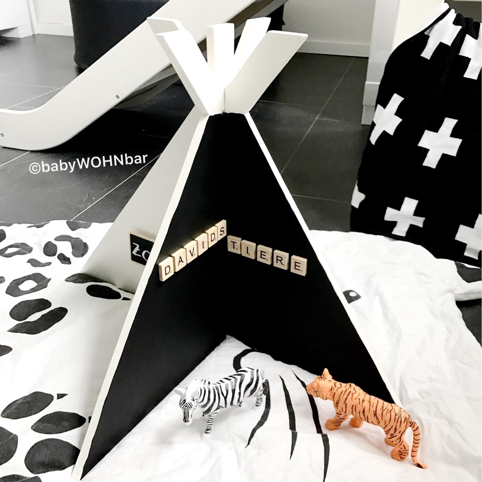 diy zoo tipi aus holz babywohnbar. Black Bedroom Furniture Sets. Home Design Ideas